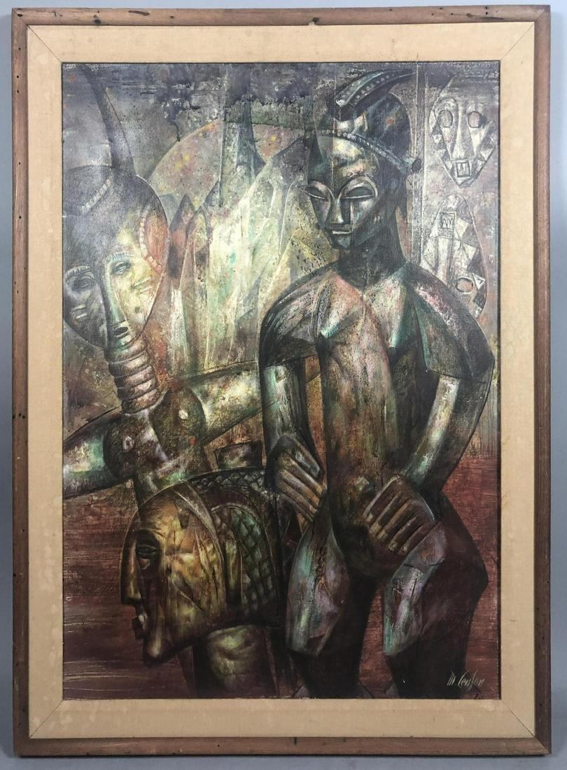 MICHAEL LENSON  Modernist Oil Painting. Tribal Im