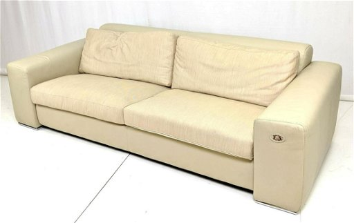 Terrific Fendi Italian Leather Modernist Sofa Couch Taupe Alphanode Cool Chair Designs And Ideas Alphanodeonline
