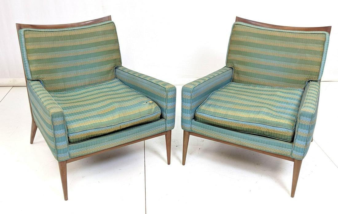 Pr PAUL McCOBB Mid Century Arm Lounge Chairs. Ele