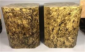 Pr Oil Spot Lacquered side Tables Pedestals 4 Si