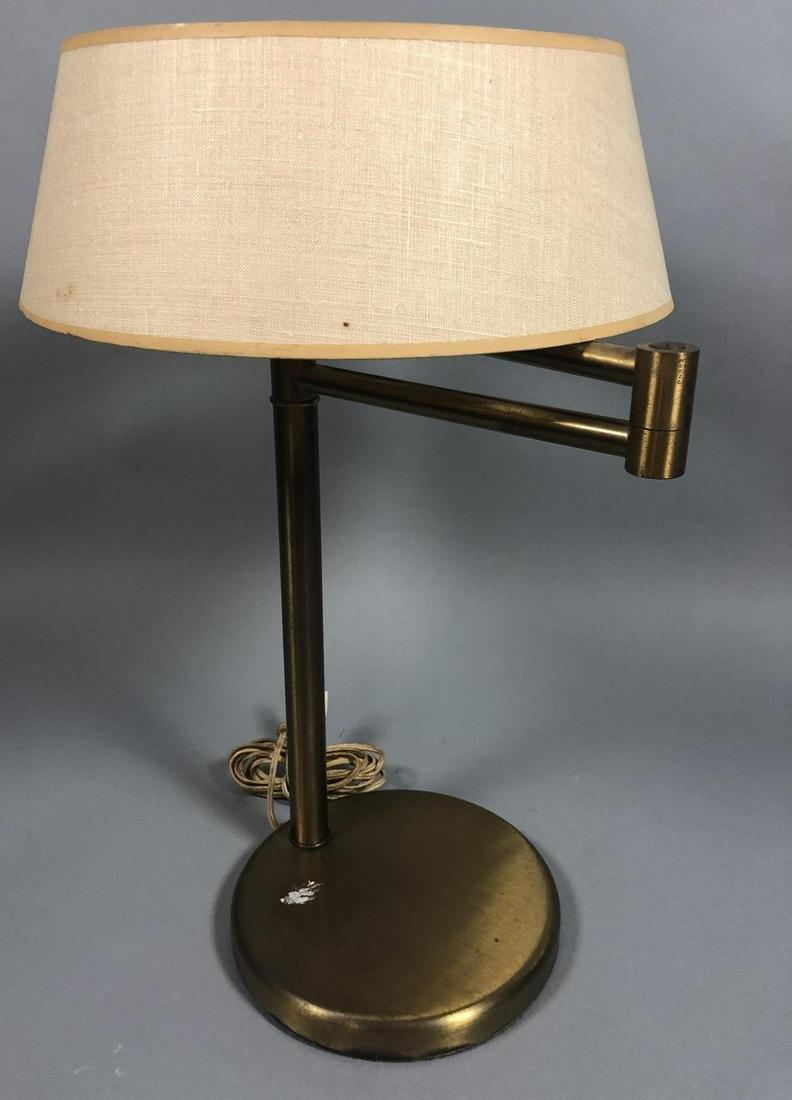 VON NESSEN Two Arm Modernist Desk Lamp. Stainless May 21