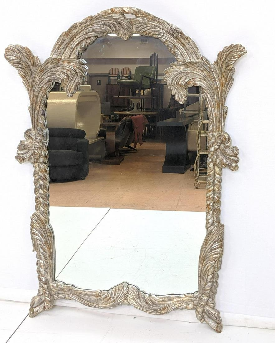 Large Decorator La Barge Silver Gilt Wall Mirror