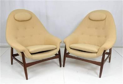 Pr Danish Modern Lounge Chairs Exposed Teak Frame