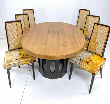 7pc Harvey Probber Dining Set Oval Table Wit