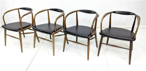 Fabulous 4 Mid Century Modern Curved Back Dining Chairs B Ncnpc Chair Design For Home Ncnpcorg