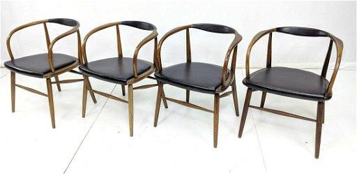 Strange 4 Mid Century Modern Curved Back Dining Chairs B Machost Co Dining Chair Design Ideas Machostcouk