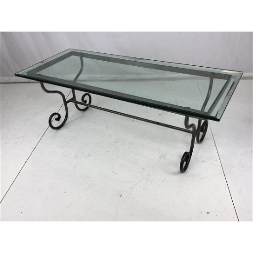 Wrought Iron Glass Top Modernist Coffee Table Sc