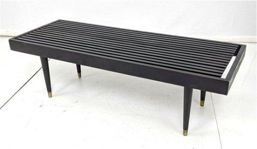 Awe Inspiring Mid Century Slat Bench Coffee Table Painted Black Spiritservingveterans Wood Chair Design Ideas Spiritservingveteransorg
