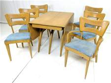 7pc HEYWOOD WAKEFIELD Dining Set. Table. 6 Arm Ch