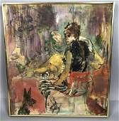 Abstract Portrait Woman Seated at Table with Dog