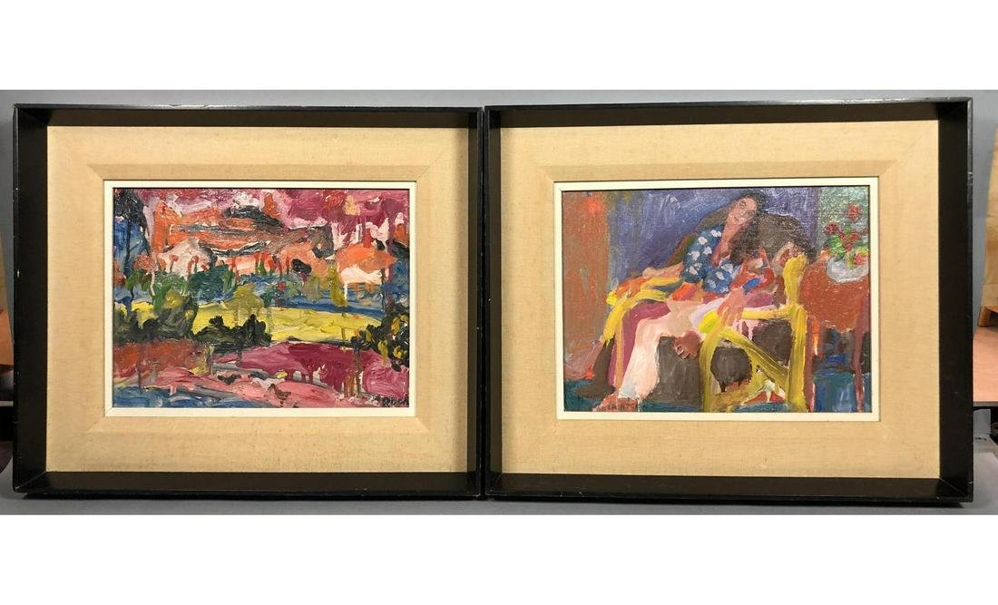 2pc JANET DE LA ROCHE Abstract Oil Paintings  Por
