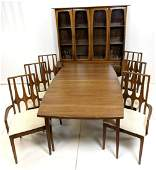 7pc American Modern Walnut Dining Set. Table with