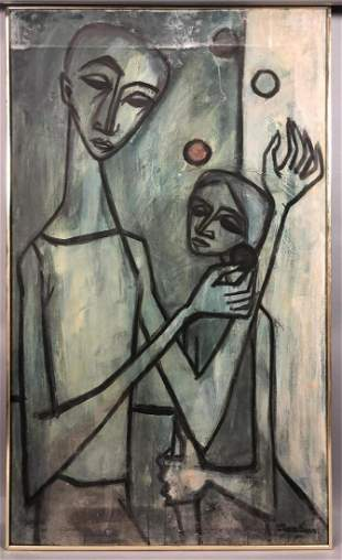 Lg JACQUES DUNHAM Abstract Figural Oil on Canvas.