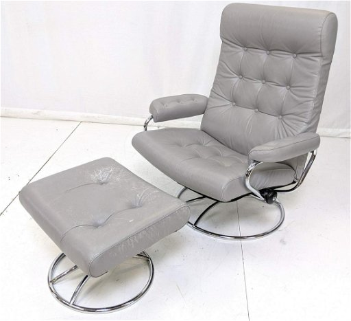 Pleasing Ekornes Gray Leather Chrome Recliner Chair Ottoman Pabps2019 Chair Design Images Pabps2019Com