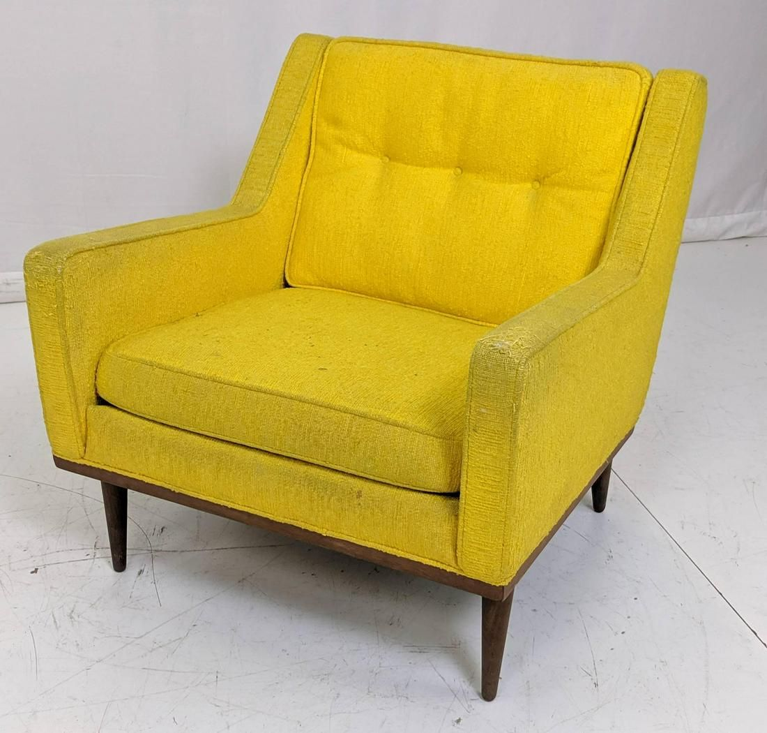 Paul McCobb Style Yellow Fabric Modernist Lounge