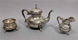 3 Pc FR Sterling Silver Tea Set Fancy Swag and