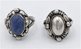 2 Pc GEORG JENSEN Sterling Silver Modernist Rings