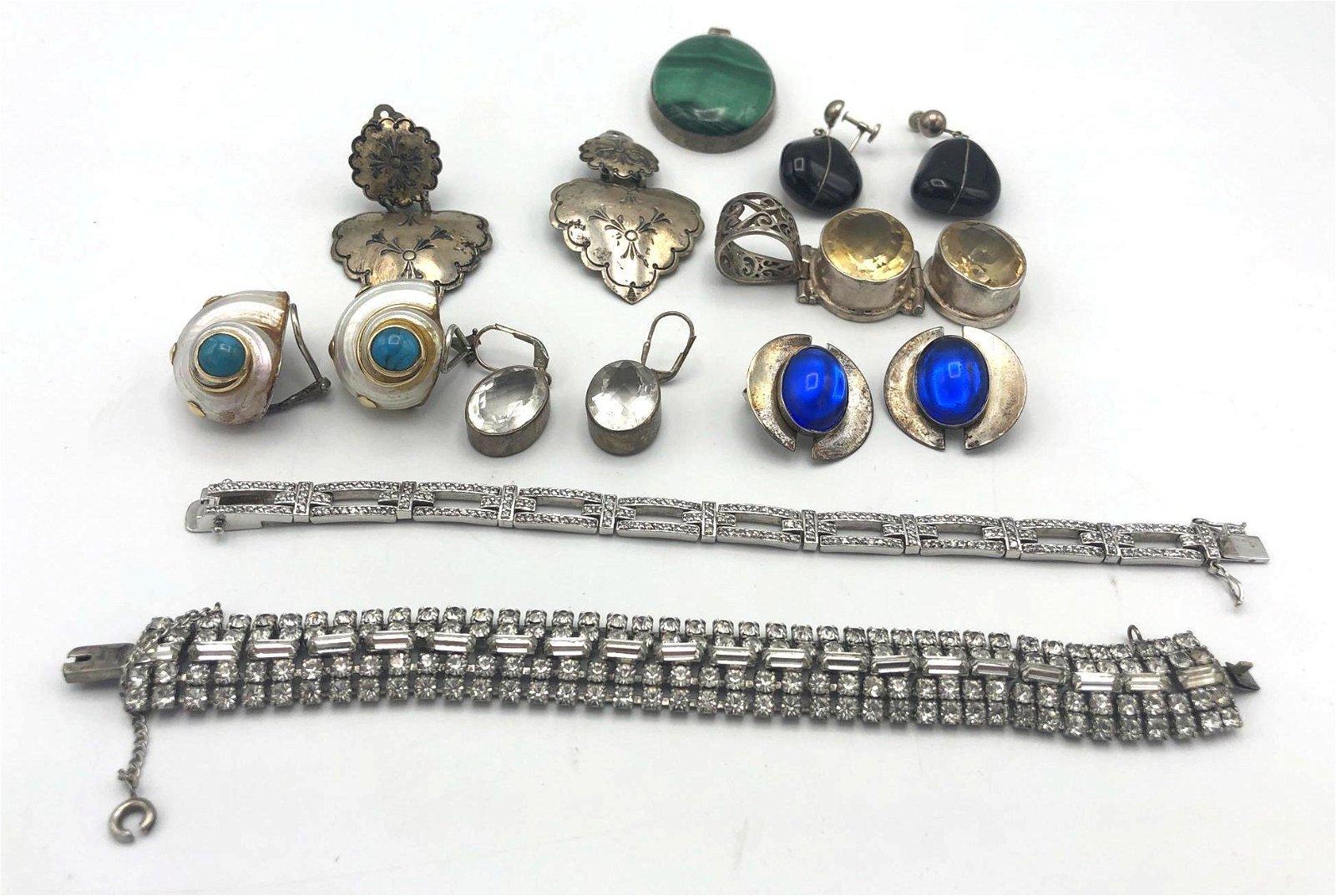 14 Pc Sterling Silver Jewelry Lot. Earrings, Pend