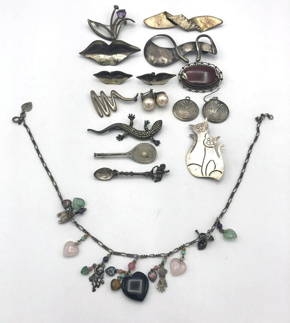 17 Pc Sterling Silver 20th Century Jewelry. Figur