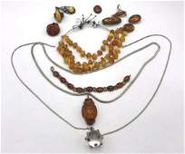 12 Pc Amber Silver or Sterling Jewelry Lot. Silve