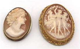 2 Pc 18 Karat Gold Frame Carved Cameo Pins. (1) C