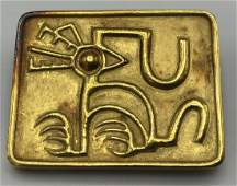18 Karat Yellow Gold Modernist Bird Pin. Framed R