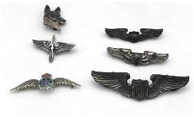 6 Pc Mostly Military Silver or Sterling Pin Lot.