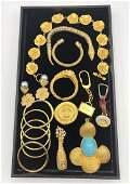 17 Pc Gilt Metal Costume Jewelry Lot BALLY Brief