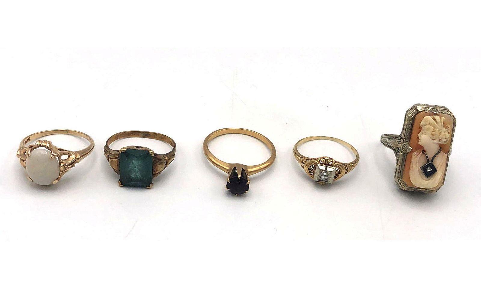 5 Vintage 10 Karat and 14 Karat Gold Ladies Rings