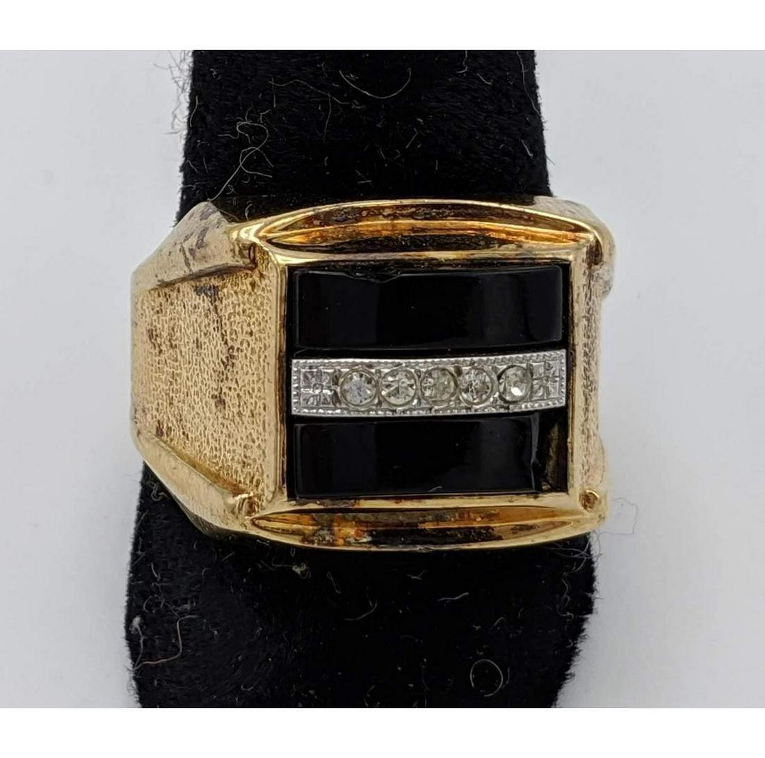 18K Gold Mans' Black Onyx Diamond Ring. Marked 18