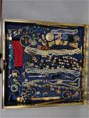 Case Lot K. Large costume jewelry lot. Belts, wat