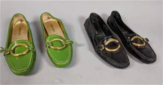 2 Pair PRADA Patent Leather Driving Loafers Shoes