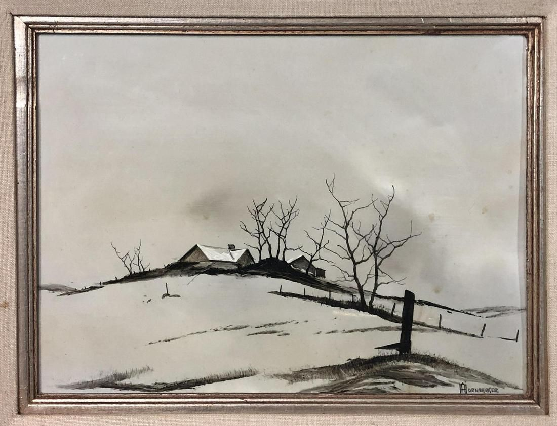 DON HORNBERGER Oil Painting Snow Scene on Acrylic