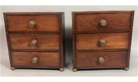 Pr Antique Dresser Top 3 Drawer Boxes Velvet lin
