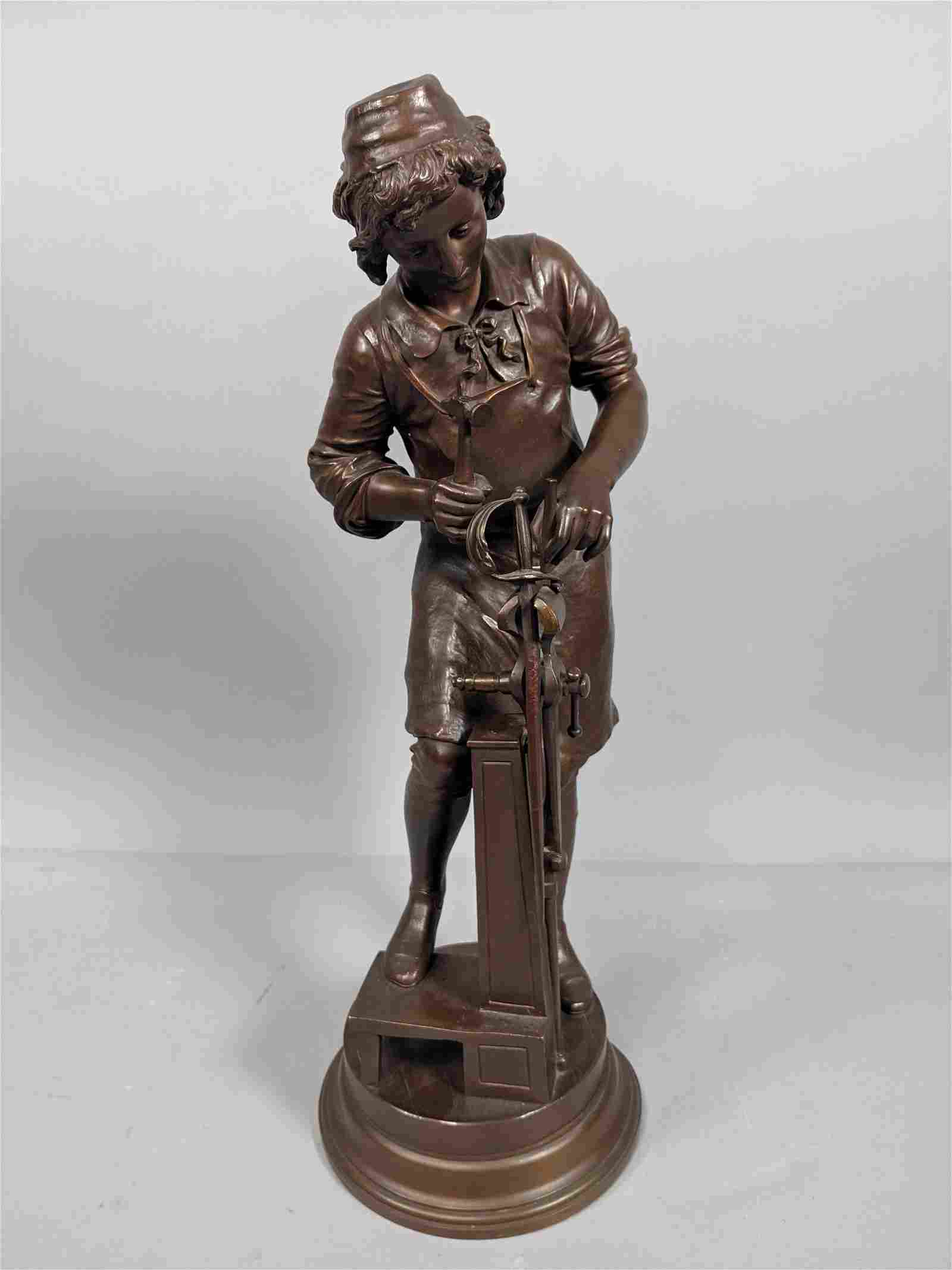 Antique Bronze Figural Sculpture of Swordsmith.