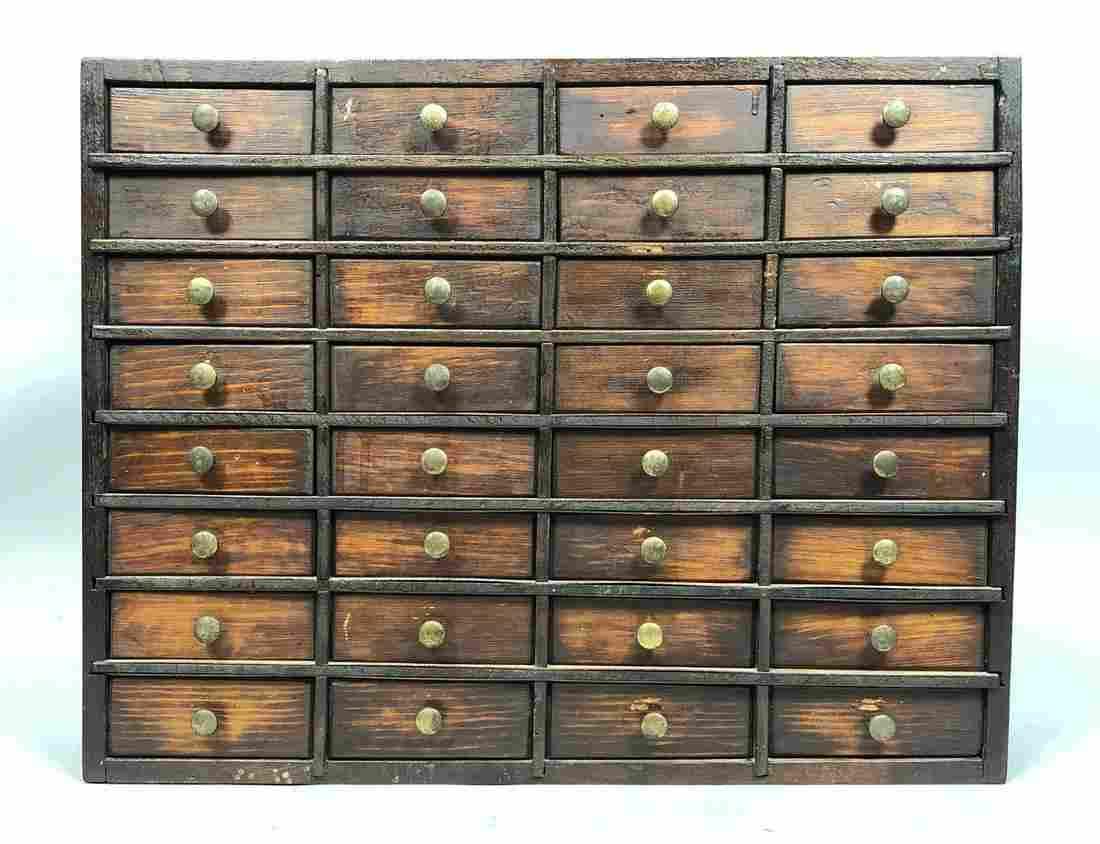 Antique Dresser Top Multi Drawer Box with Brass P