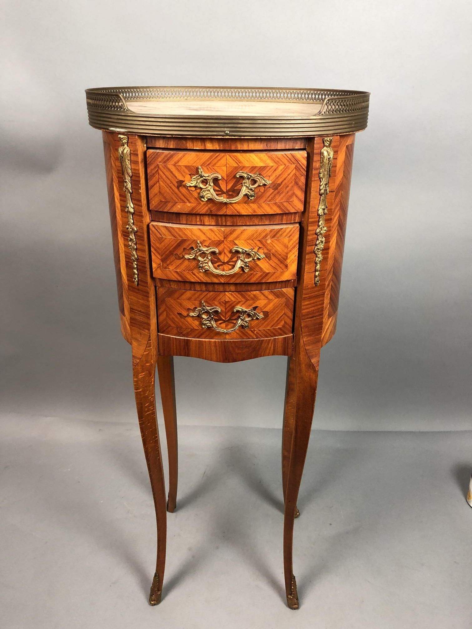 3 drawer Marble top French Inlaid Night Stand End