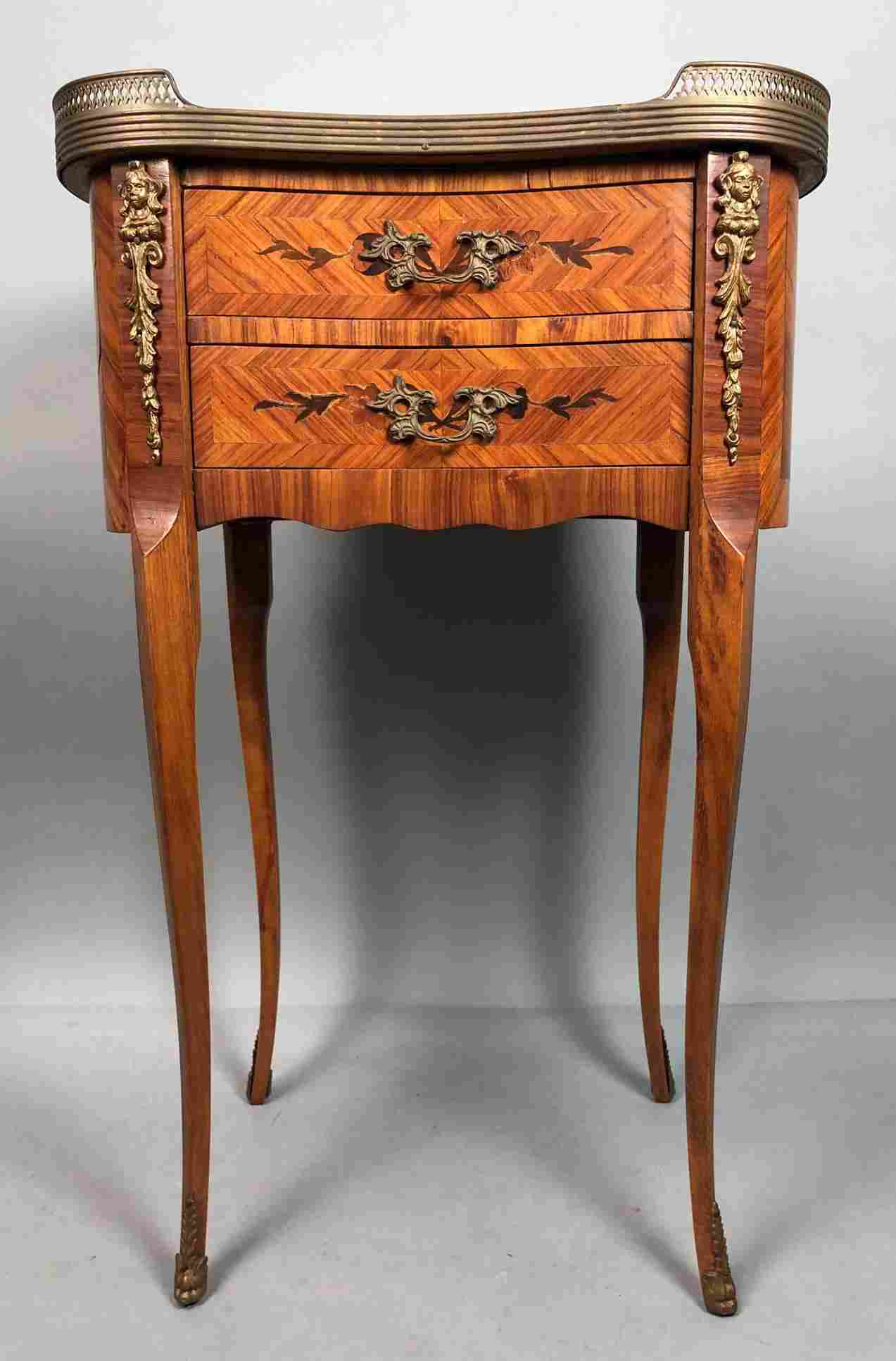 French Inlaid 2 Drawer Night Stand End Table. Mar