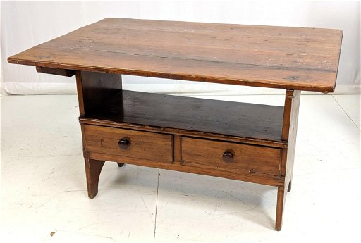 Antique Flip Top Bench Table Two Drawers On The