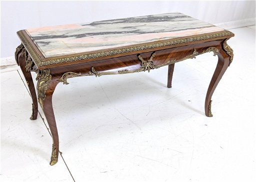 Antique Marble Top Coffee Table With