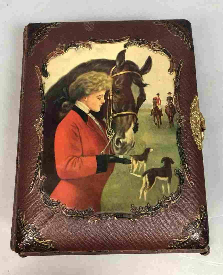 Book Form Music Box Photo Album. Hunt scene on co