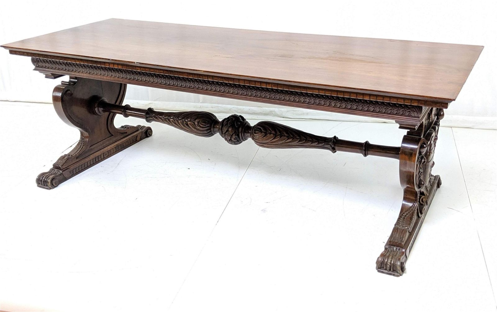 Lg Carved Mahogany Library Table. Carved floral s