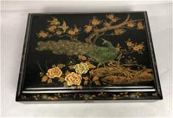 Black Lacquer Asian Style Jewelry Sewing Box. Han