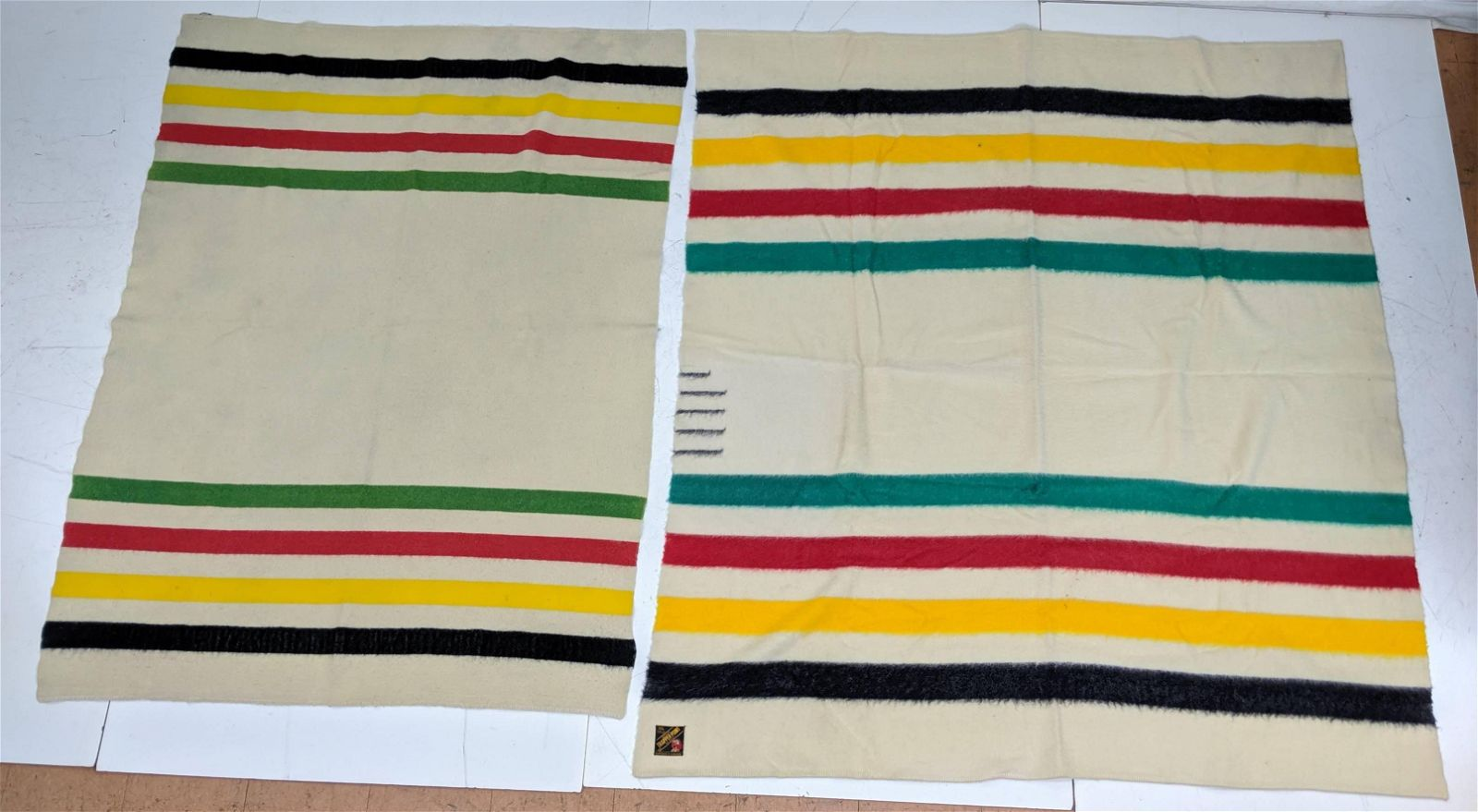 2 TRAPPER POINT Blankets. Striped Colorful Design