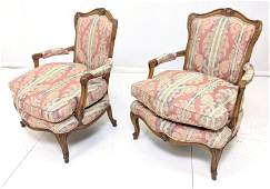 Pr Vintage French Style Arm Chairs. Carved wood f