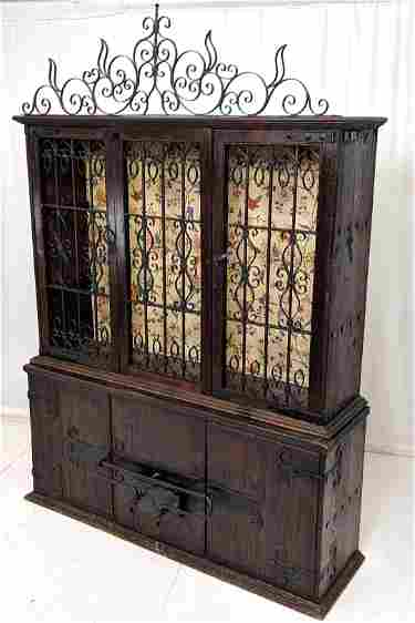 Lg Antique 2pc Continental Cabinet, Wrought Iron China Cabinet