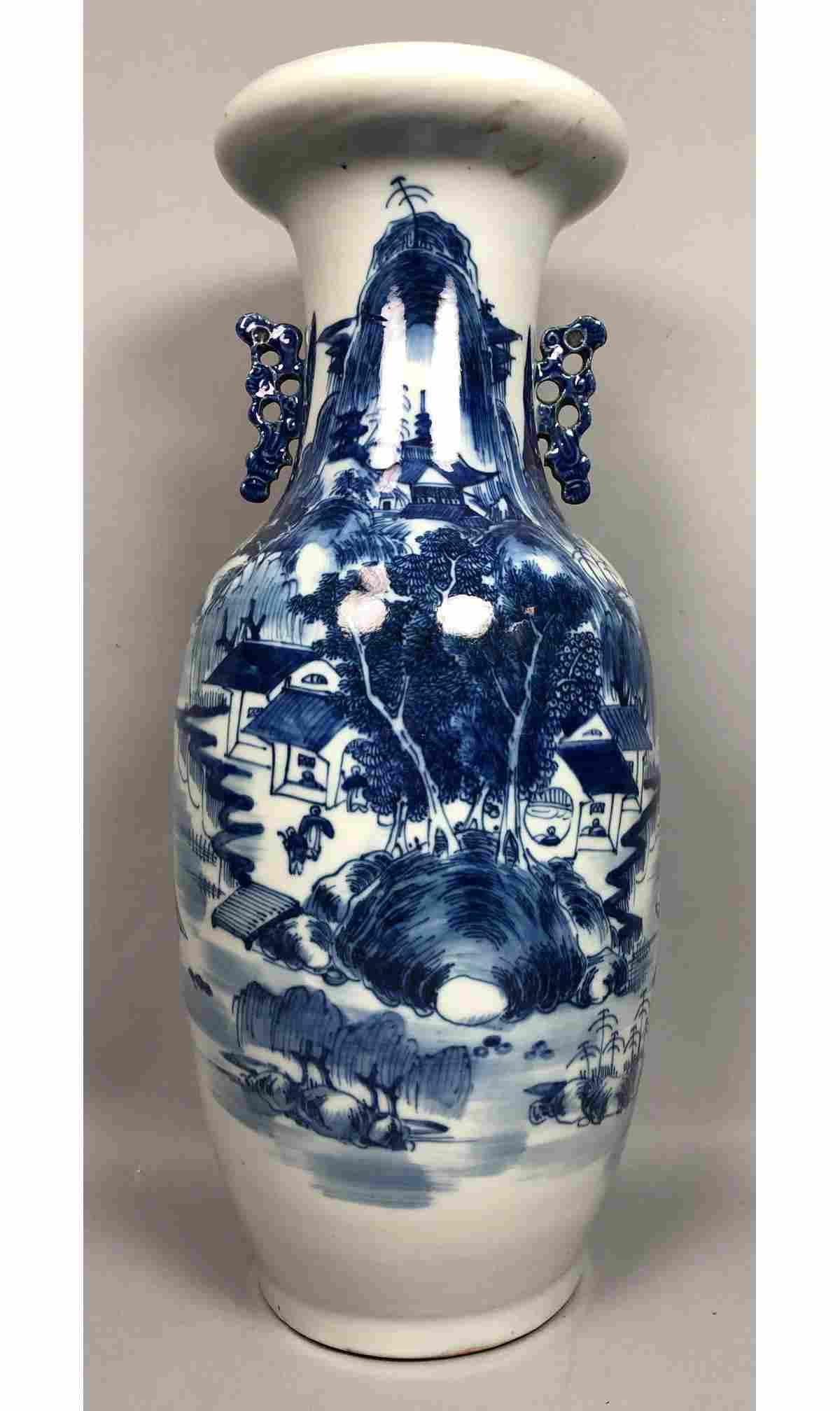 Large Asian Blue Decorated Porcelain Vase. Blue h