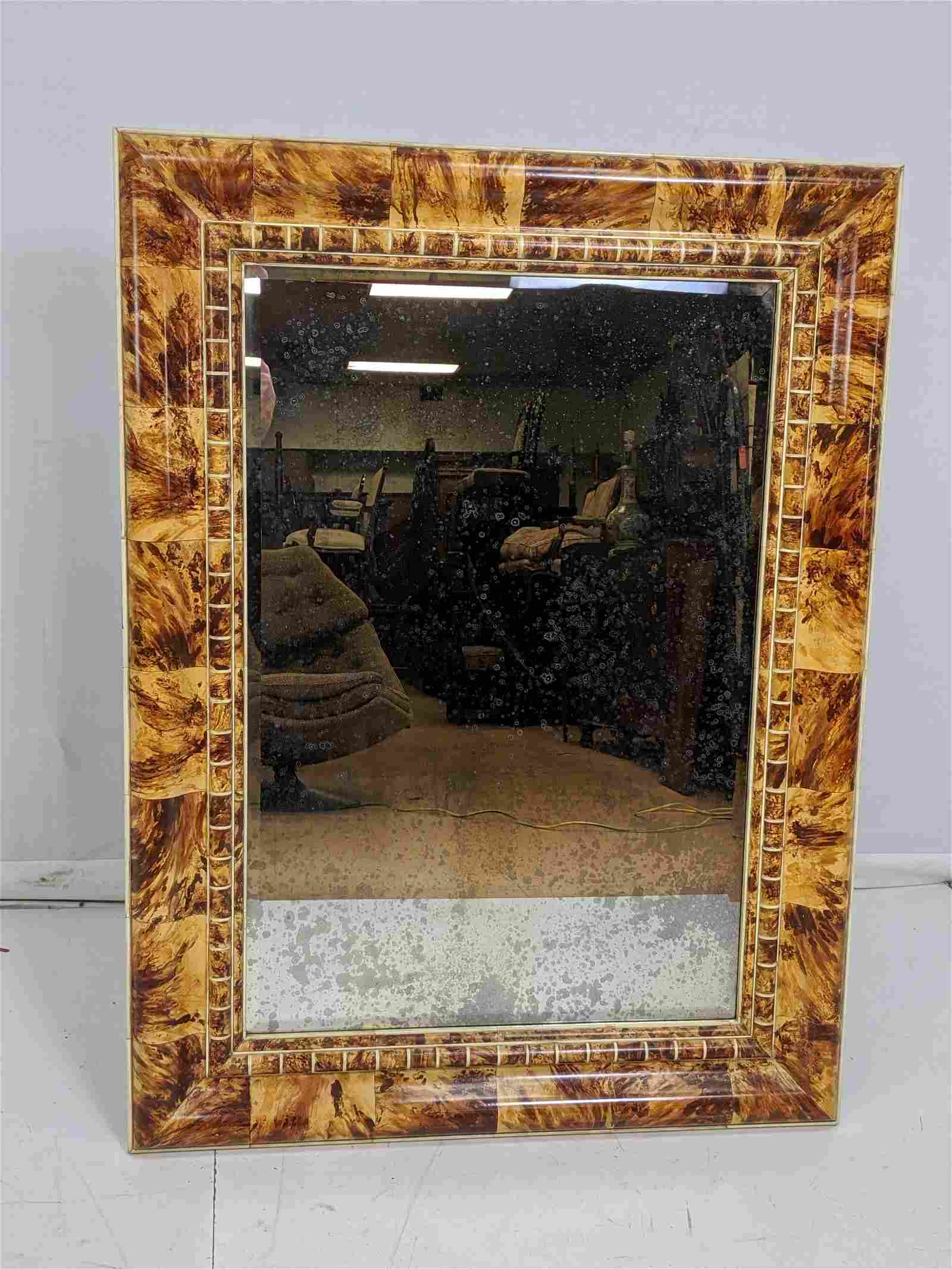 Decorator Lacquered Large Mirror. Oil spotted bac