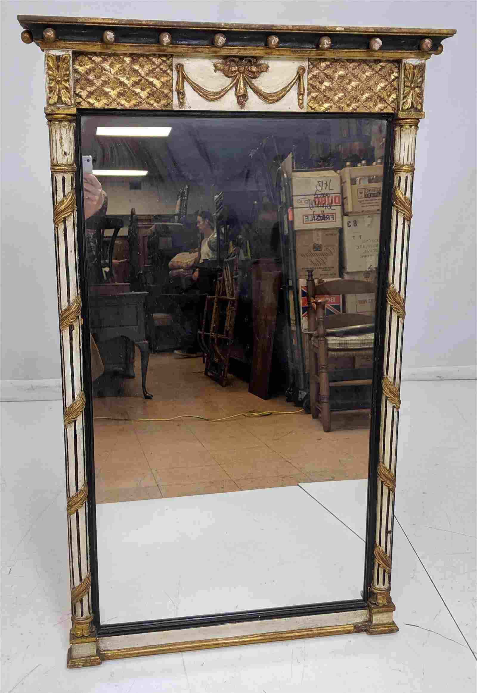 Decorator Wall Mirror Painted Black & White Wood