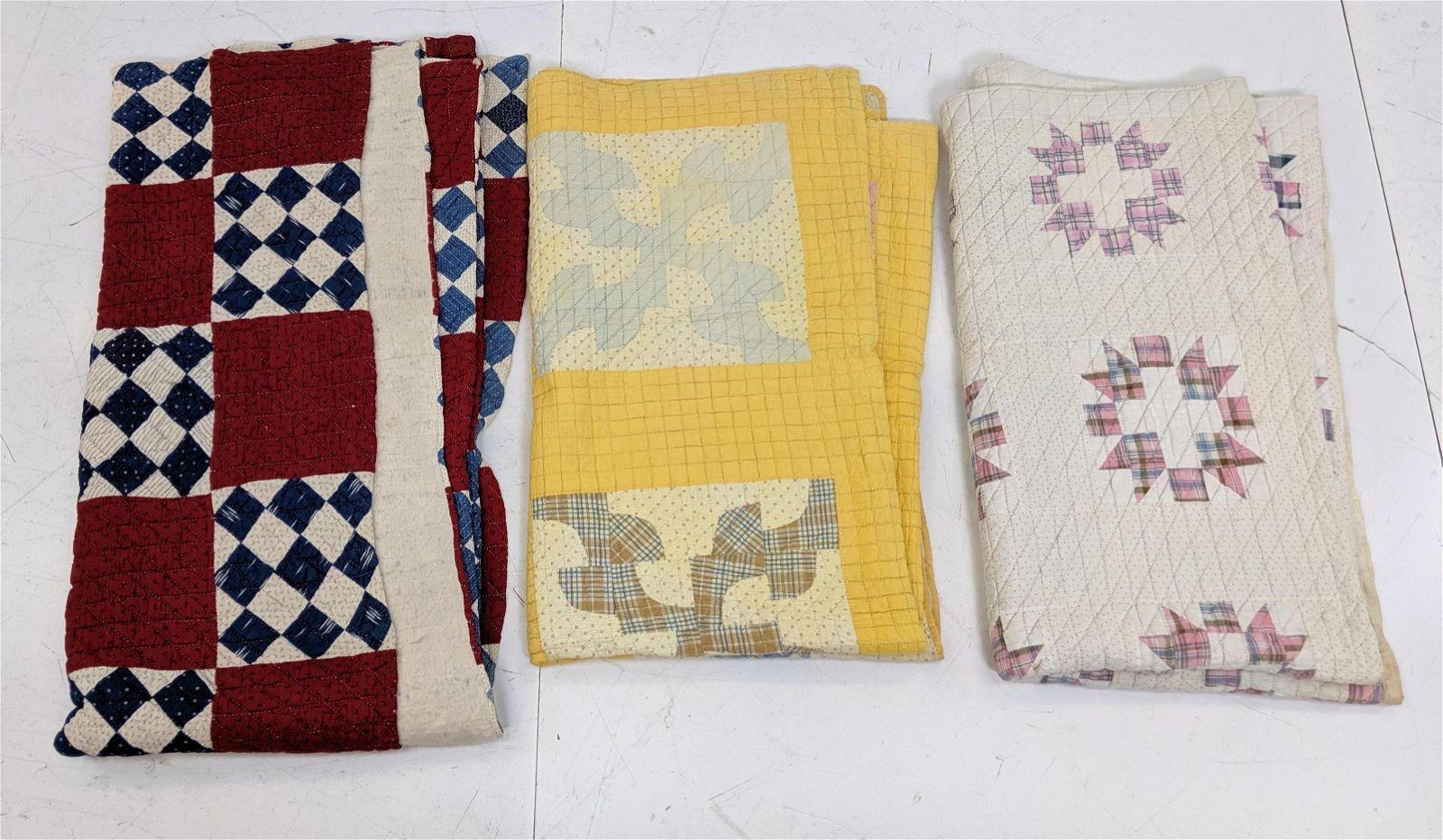 Lot 3 Vintage Quilts. Geometric patterns.